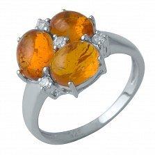 Серебряное кольцо Росарио с янтарем и фианитами