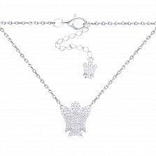 Серебряное колье Крылатый защитник с фигурой ангела в усыпке фианитов