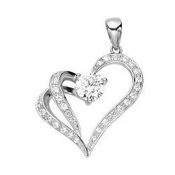 Серебряный кулон-сердце с фианитами 000131847
