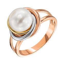 Золотое кольцо в комбинированном цвете с жемчугом 000135604