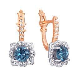 Серьги в комбинированном цвете золота с голубыми топазами и фианитами 000131067