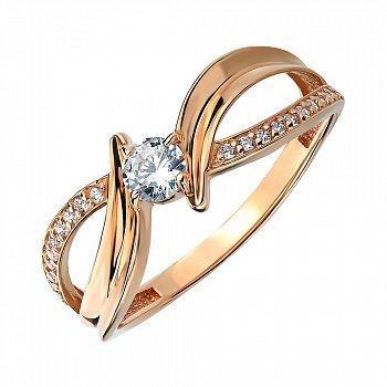 Кольцо из красного золота с цирконием 000141728
