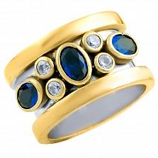 Кольцо из серебра и бронзы Миранда с сапфиром и фианитами