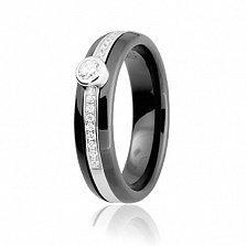 Кольцо из серебра и черной керамики Эдда с фианитами
