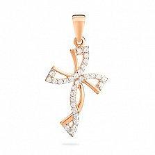 Золотой крестик с фианитами Ангелина