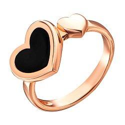 Кольцо из красного золота с черной эмалью  000134658