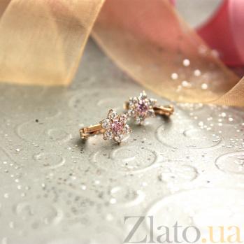 Золотые серьги Орхидея с розовыми и белым цирконием SUF--110154р