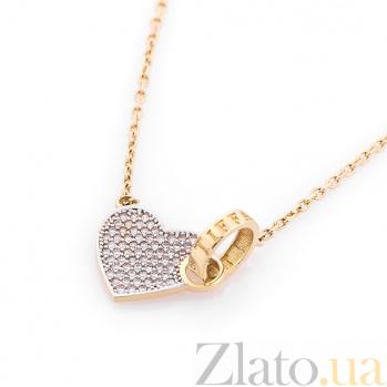 Колье из желтого золота Путь любви с фианитами в стиле Тиффани 000082431