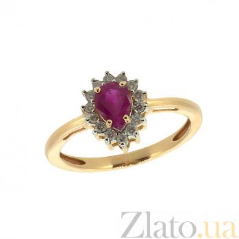Золотое кольцо в красном цвете с бриллиантами и рубином Фрида ZMX--RDR-5552_K