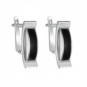 Серебряные серьги с эмалью и родием 000102025
