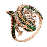 Кольцо из красного золота Игуана с фианитами