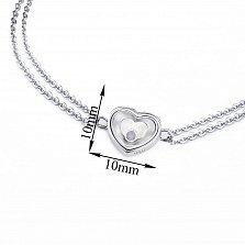 Серебряный двойной браслет Сердце большое с плавающим синтезированным опалом, 10x10мм