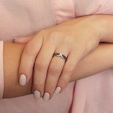 Серебряное кольцо Ассо с черными и белыми кристаллами циркония