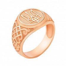 Золотой перстень-печатка Трезубец в красном цвете