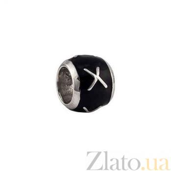 Серебряная бусина с черной эмалью AQA--135510234
