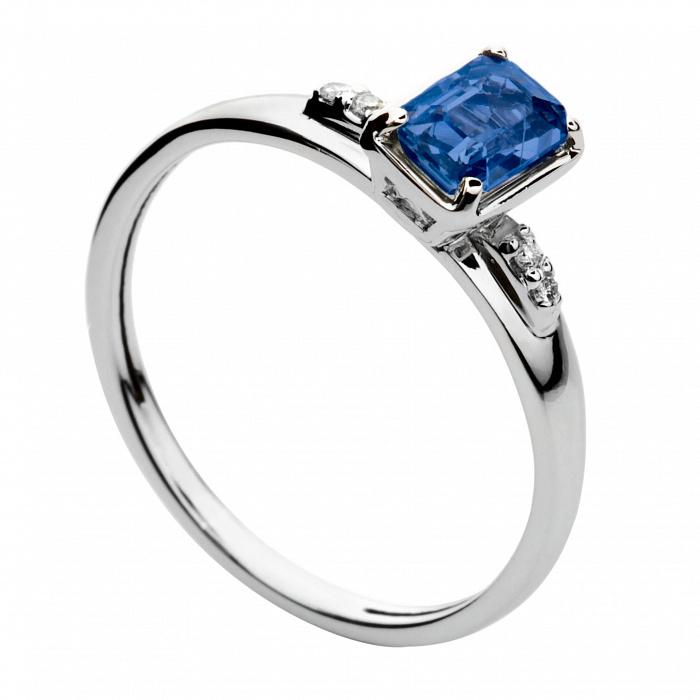 Кольцо из белого золота с сапфиром и бриллиантами Лорен 000030342
