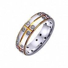 Золотое обручальное кольцо Совет да любовь с фианитами