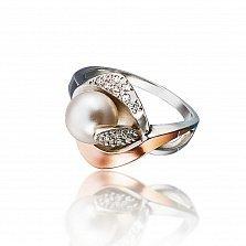 Серебряное кольцо Гармония с золотой накладкой, жемчугом и фианитами