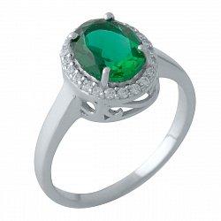 Серебряное кольцо с синтезированным изумрудом и фианитами 000128151