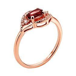 Кольцо из красного золота с гранатом и цирконием 000136213