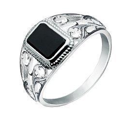 Серебряный перстень-печатка с черным ониксом 000116137