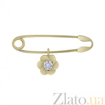Булавка в желтом золоте с фианитом Цветочек 000022983