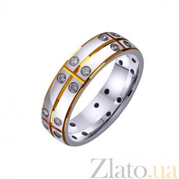 Золотое обручальное кольцо Совет да любовь с фианитами TRF--422215