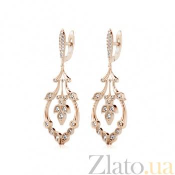 Серьги из розового золота с бриллиантами В объятиях рассвета 787