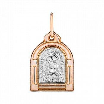 Золотая ладанка в комбинированном цвете Пресвятая Дева Мария 000147787
