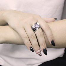 Серебряное кольцо Эклектика с голубым агатом, ониксом, аметистом и перламутром