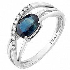 Золотое кольцо Белоснежка с сапфиром и бриллиантами