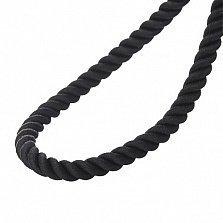 Шелковый черный шнурок Лилиан с серебряной застежкой