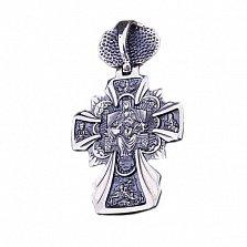 Серебряный крест с чернением Небесный покровитель