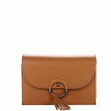 Кожаный клатч Genuine Leather 1501 коньячного цвета с клапаном на магните и плечевым ремнем