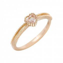 Помолвочное золотое кольцо Райти с фактурной шинкой и нежно-розовым кварцем огранки сердце