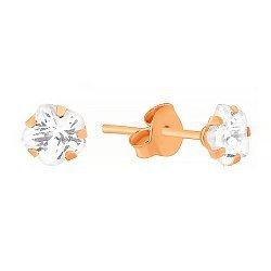 Позолоченные серебряные сережки Звездочки с фианитами 000034236