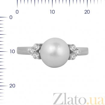 Кольцо из белого золота Лаура с жемчугом и фианитами 000081326