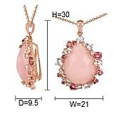 Золотой кулон с ониксом, бриллиантами, розовыми кварцами и турмалинами Мечтательница