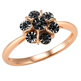 Кольцо Ночь из красного золота с бриллиантами