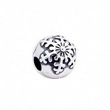 Серебряный шарм-клипса Снежинка с чернением в стиле Пандора