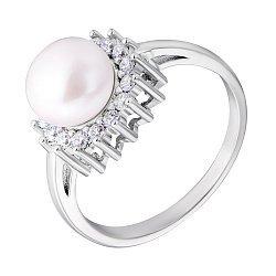 Серебряное кольцо с жемчугом и фианитами 000132659