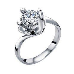 Помолвочное кольцо в белом золоте с бриллиантом 1ct в крапанах-сердцах 000070632