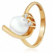 Золотое кольцо с жемчугом и фианитами Клодина