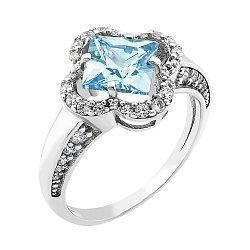 Серебряное родированное кольцо с голубым альпинитом и белыми фианитами 000088817
