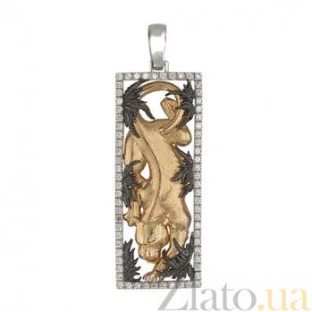 Подвеска Пантера из белого золота с фианитами VLT--А305