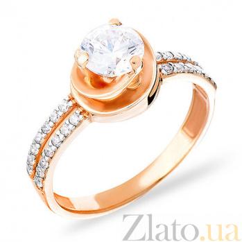 Кольцо из красного золота с цирконием Ансония SUF--140413
