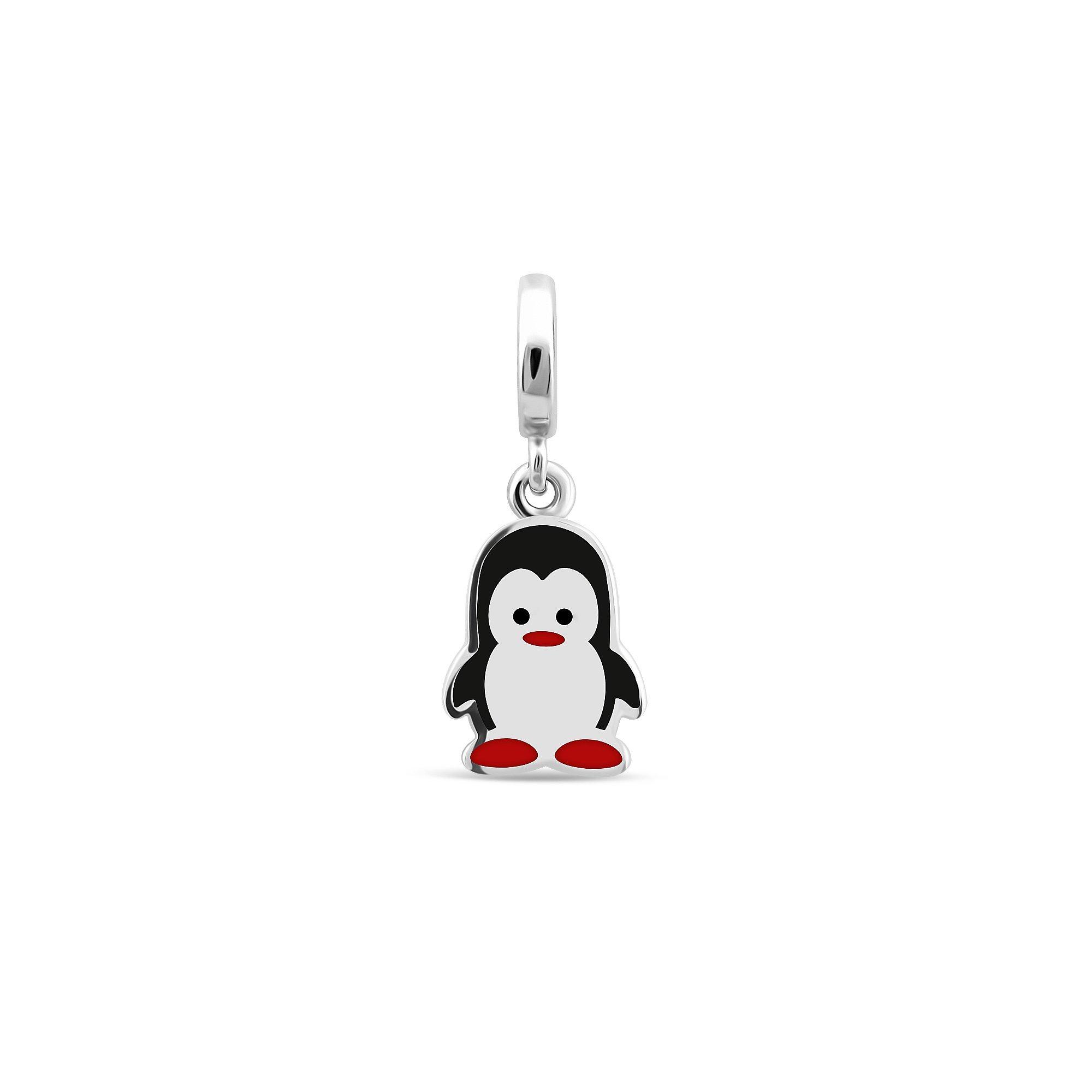 Серебряная подвеска Ми-ми-ми пингвин с белой, черной, красной эмалью и родием