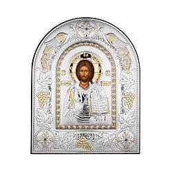 Посеребренная икона Спаситель на подставке 000131798