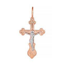 Серебряный крестик Сердце мира с позолотой 000028646