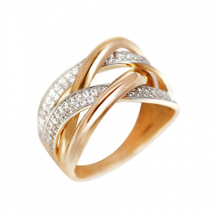 Кольцо из красного золота Гликерия с фианитами 000081340